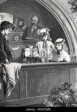 Illustration by Edward Hughes (1832-1908) shows children standing in a church pew singing. 1870 - Stock Photo