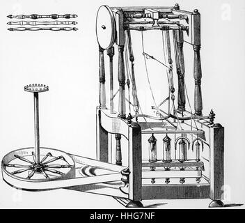 Illustration depicting Arkwright's water frame spinning machine - Stock Photo
