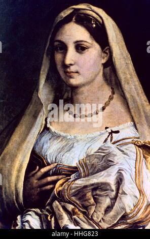 La Donna Velata (c. 1516). By Raffaello Sanzio da Urbino (1483-1520), known as Raphael, an Italian painter and architect - Stock Photo