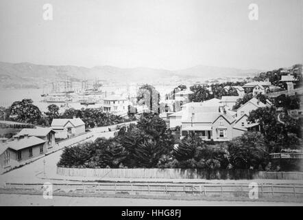 City view of Wellington New Zealand, 1875 - Stock Photo
