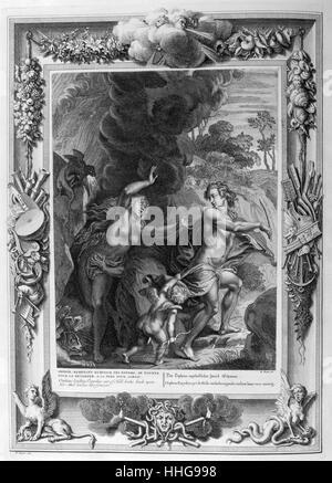 legend of Orpheus and Eurydice. Temple of the muses. Plate from Les Images Ou Tableaux De Platte Peinture Des Deux - Stock Photo