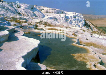 Pamukkale, meaning 'cotton castle' in Turkish, is a natural site in Denizli Province in south-western Turkey. The - Stock Photo