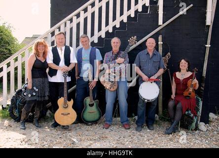 Dorset based folk-rock band State of Undress on Mudeford Beach, Christchurch, Dorset, England, U.K. - Stock Photo