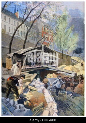 Building tramways on the streets of Paris, 1899. . An illustration from Le Petit Journal, 2nd April 1899 - Stock Photo