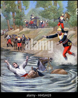 Illustration showing the accidental drowning of a French cavalry officer. 1900. (French 1900) - Stock Photo
