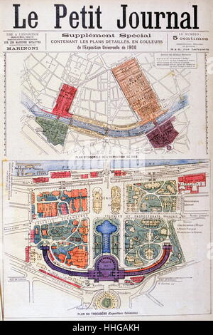Illustration showing a plan of the exhibition areas for the Exposition Universelle of 1900. This was a fair held - Stock Photo