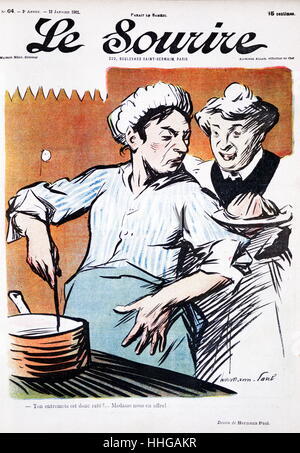 Cover illustration from the French magazine, 'le sourire' (the smile), showing two domestic cooks at a stove 1901. - Stock Photo