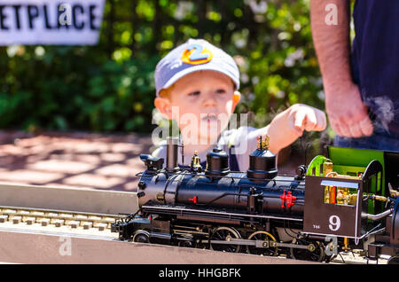 The Train Day Event at the Los Altos History center  introducing  model railroading to a younger generation - Stock Photo