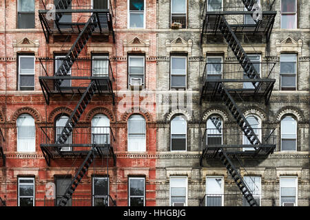 Brick Apartment Building old brick apartment buildings in a big city stock photo, royalty