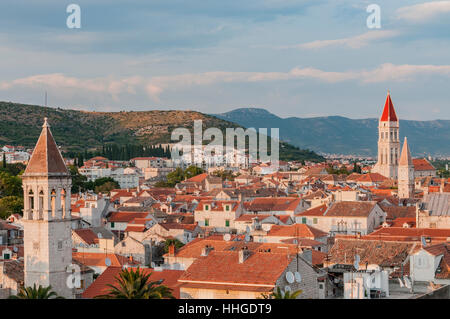 The red tile roofs of Trogir, a historic town and harbor on the Adriatic coast in Split-Dalmatia County, Croatia. - Stock Photo