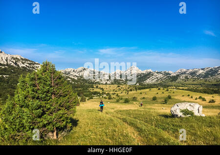 Hiking In Paklenica Velebit Mountains In Croatia. Beautiful nature and landscape photo. Nice warm summer day. Calm, - Stock Photo