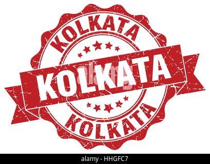 Kolkata round ribbon seal - Stock Photo
