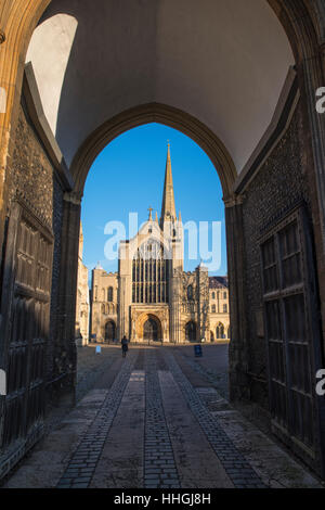 A view of the magnificent Norwich Cathedral through the Erpingham Gate in the historic city of Norwich, UK. - Stock Photo