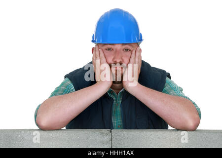 blue, build, collar, bored, builder, construction, blue, house, building, hand, - Stock Photo