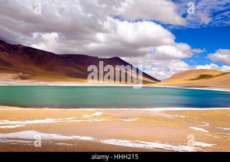 Lake Miscanti in the highlands of Chile near San Pedro de Atacama - Stock Photo