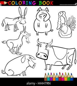 animals, illustration, cow, farm, cartoon, pig, application, education, game, - Stock Photo