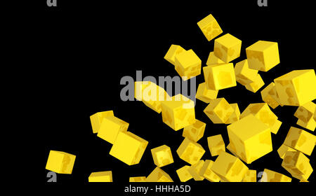banner - flying dice gold yellow on black 4 - Stock Photo