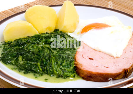 egg, spinach, fried egg, potatoes, macro, close-up, macro admission, close up - Stock Photo