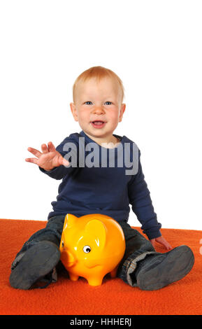 save, baby, piggybank, isolated, scrabble, crawling, save, baby, physiognomy, - Stock Photo
