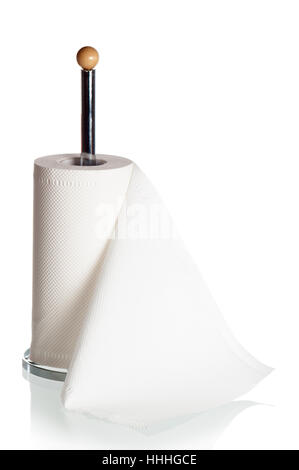 Kitchen paper towels on holder, it is isolated on white - Stock Photo