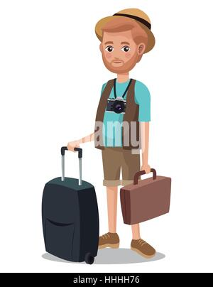 traveling man beard tourist camera portfolio suitcase - Stock Photo