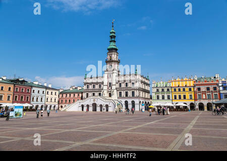 Trade area and old town hall. Zamosc. Poland - Stock Photo