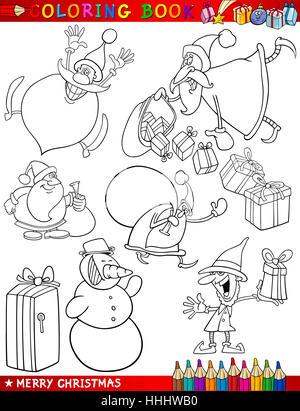 illustration, christmas, set, cartoon, xmas, x-mas, laugh, laughs, laughing, - Stock Photo
