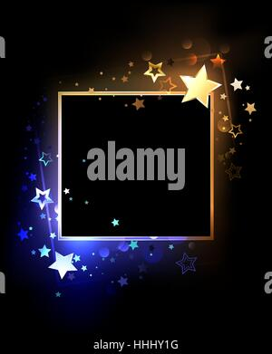 Square banner with contrasting, glowing blue and golden stars on a black background. Design with stars. Design for - Stock Photo