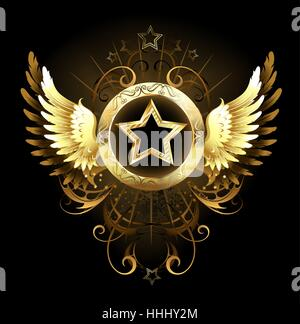 gold star with a circular banner, decorated with golden wings and a pattern on a black background - Stock Photo