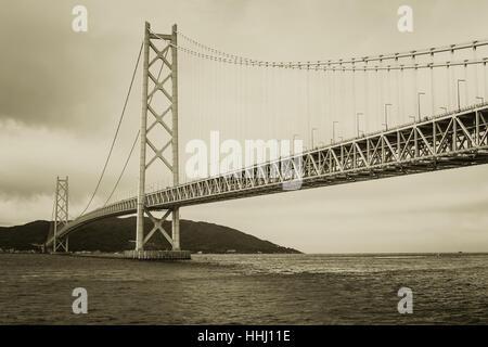 Large Bridge in vintage retro art color tone. - Stock Photo