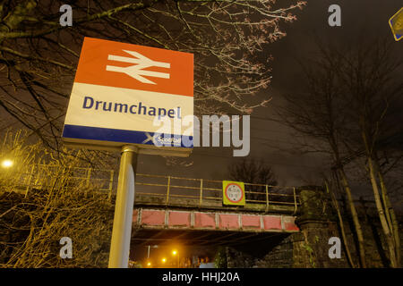 drumchapel  railway station scotrail at night in the dark - Stock Photo