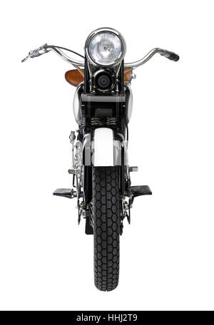 frontal shot of a motorbike in white back