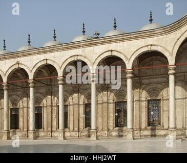 sunny illuminated patio of the Mosque of Muhammad Ali in Cairo (Egypt) - Stock Photo