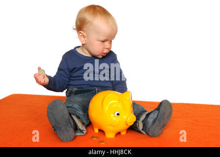 save, baby, piggybank, money, isolated, scrabble, crawling, baby, physiognomy, - Stock Photo