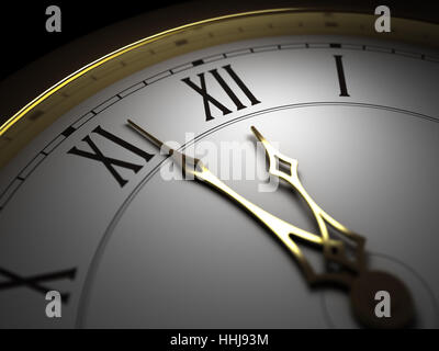 closeup, antique, clock, date, time, time indication, horizontal, minute hand, - Stock Photo