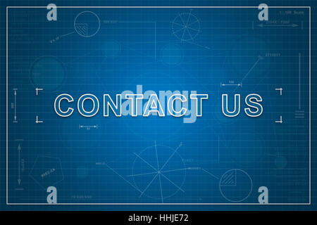 Contact us email address icon isolated on glossy blue round button contact us on paper blueprint background business concept stock photo malvernweather Gallery