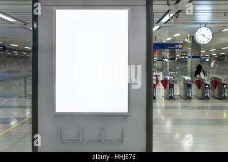 Billboard Banner signal mock up display in subway train station. - Stock Photo