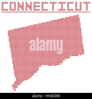Map Of The U S State Of Connecticut A Dot Map Of Connecticut State Isolated On A White Background Stock Photo