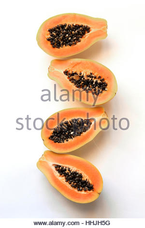 Half papaya fruit on white background.Top view - Stock Photo