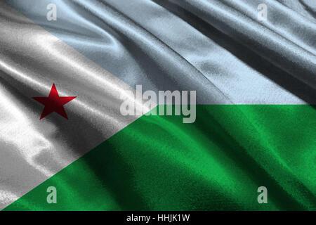 Djibouti flag ,3D Djibouti national flag 3D illustration symbol. - Stock Photo