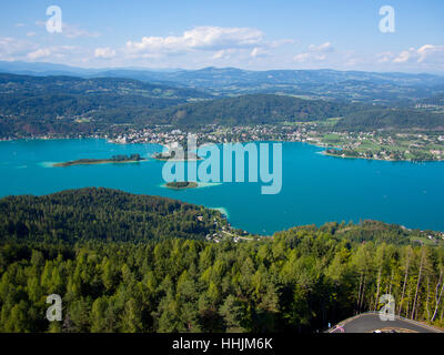 lake woerthersee, view from pyramidenkogel, pörtschach am woerthersee, carinthia, austria - Stock Photo