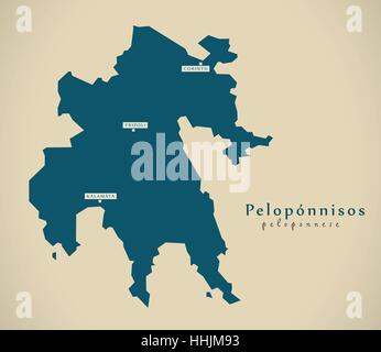 Modern Map - Peloponnisos Greece GR illustration - Stock Photo