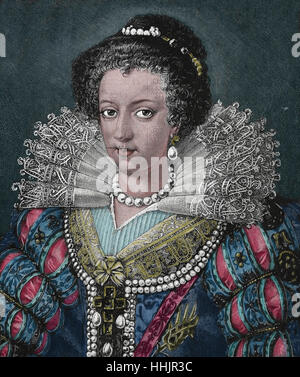 Elisabeth of Austria (1554-1592) Queen consort of France. Wife of King Charles IX. House of Habsburg. Engraving, - Stock Photo