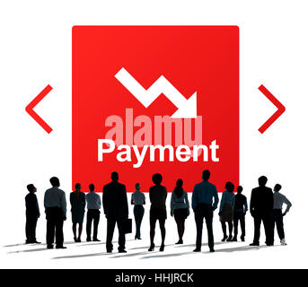 Falling Arrow Financial Icon Word Concept - Stock Photo