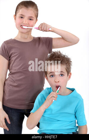 blank, european, caucasian, brother, brush, boy, lad, male youngster, bathroom, - Stock Photo