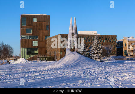 UMEA, SWEDEN ON JANUARY 16, 2017. View of an artwork by Megmet Ali Uysal, Skin 4. Umea Academy of Fine arts. Editorial - Stock Photo