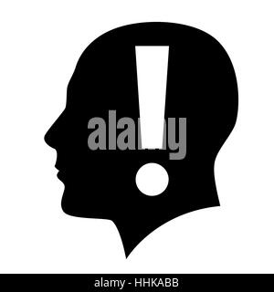 Human head with exclamation mark symbol on white - Stock Photo