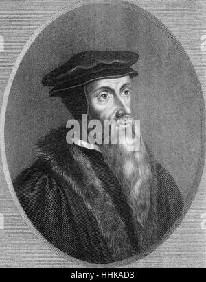 Johannes Calvin or Jean Cauvin, 1509 - 1564, a French-born reformer and founder of Calvinism, Johannes Calvin oder - Stock Photo
