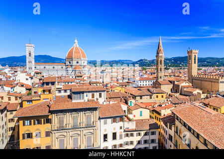 Florence, Italy. Palazzo Bargello Tower, Badia Fiorentina Belltower and the Cathedral with the Brunelleschi Dome. - Stock Photo