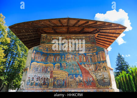 Voronet Monastery, Bucovina, Romania. The Last Judgment, painted on the exterior of the church. - Stock Photo